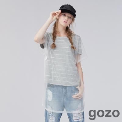 gozo 條紋透視造型網紗長版上衣 (二色)