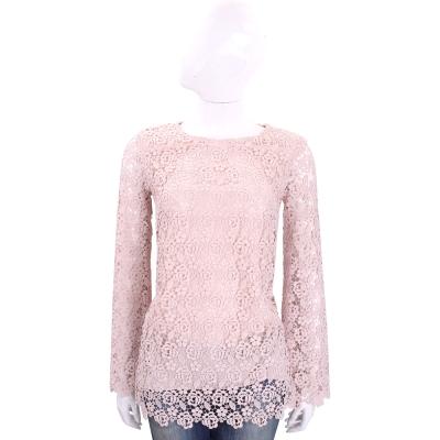ERMANNO SCERVINO 粉色織花長袖蕾絲上衣