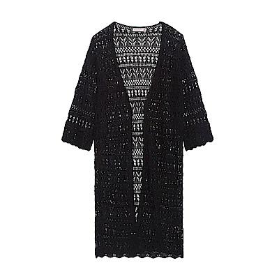 CACO-縷空六分袖罩衫(兩色)-女【PSH115】