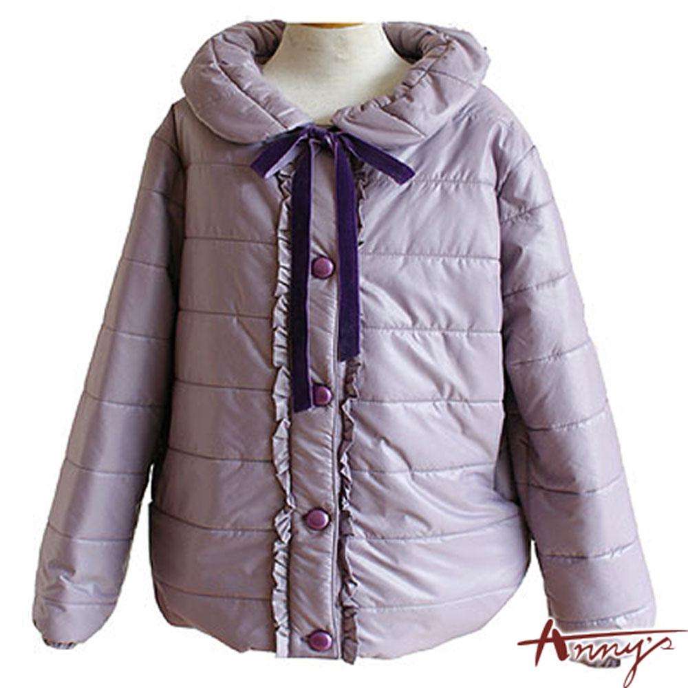 Anny甜美大圓翻領荷葉壓邊鋪棉外套*2470紫
