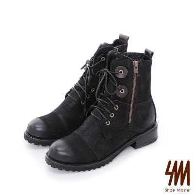 SM-台灣全真皮-綁帶拉鍊中統中低粗跟短軍靴-黑色