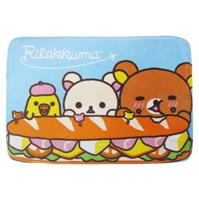 拉拉熊 漢堡好好吃 法蘭絨厚地墊(藍)