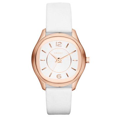 DKNY 城市漫步都會時尚腕錶-白x玫瑰金框/33mm