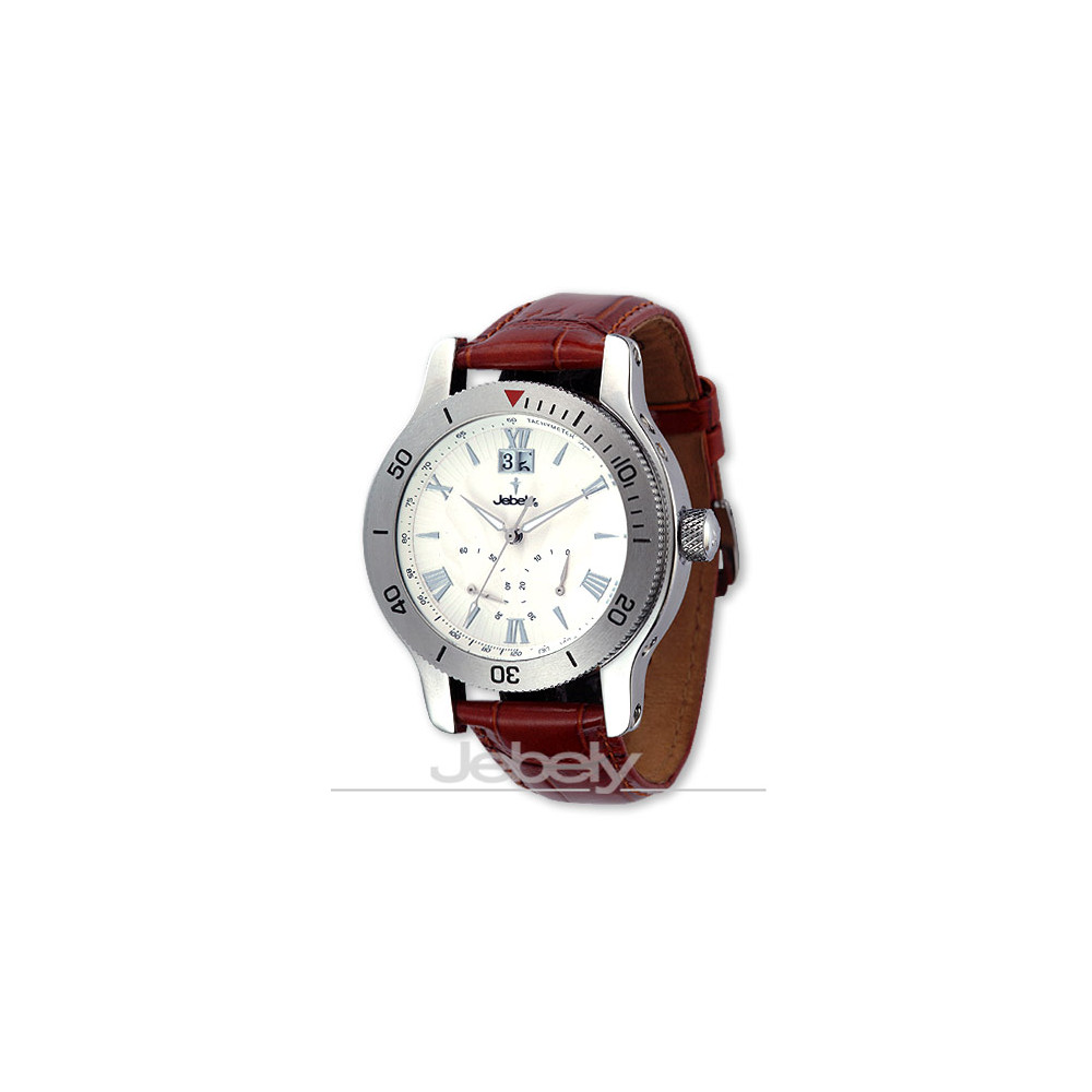 Jebely瑞士機械錶-神秘黑森林系列-飛返式秒針機械錶-白/40mm