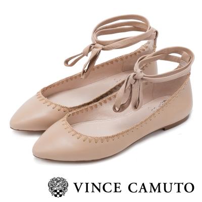 VINCE CAMUTO 簡約優雅  真皮質料素面綁帶平底鞋-粉色