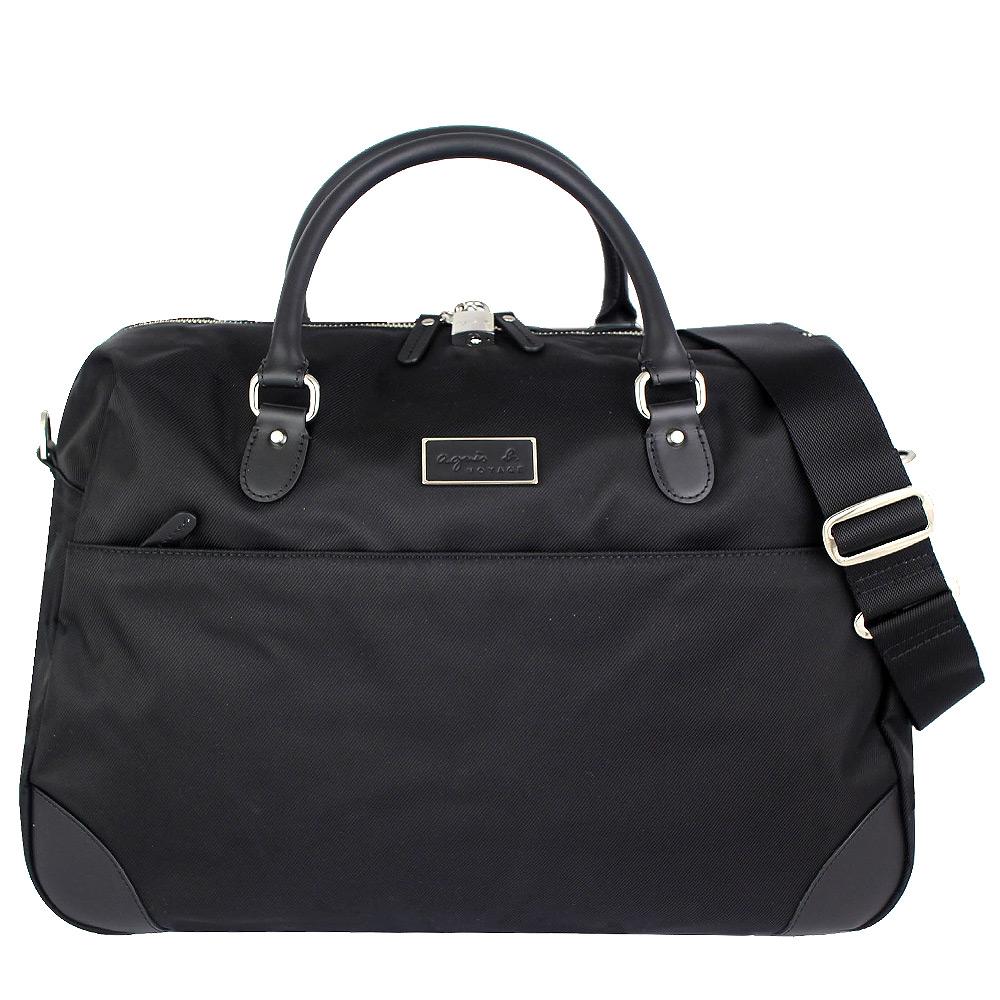 agnes b. voyage 黑色帆布鎖頭提背兩用旅行袋
