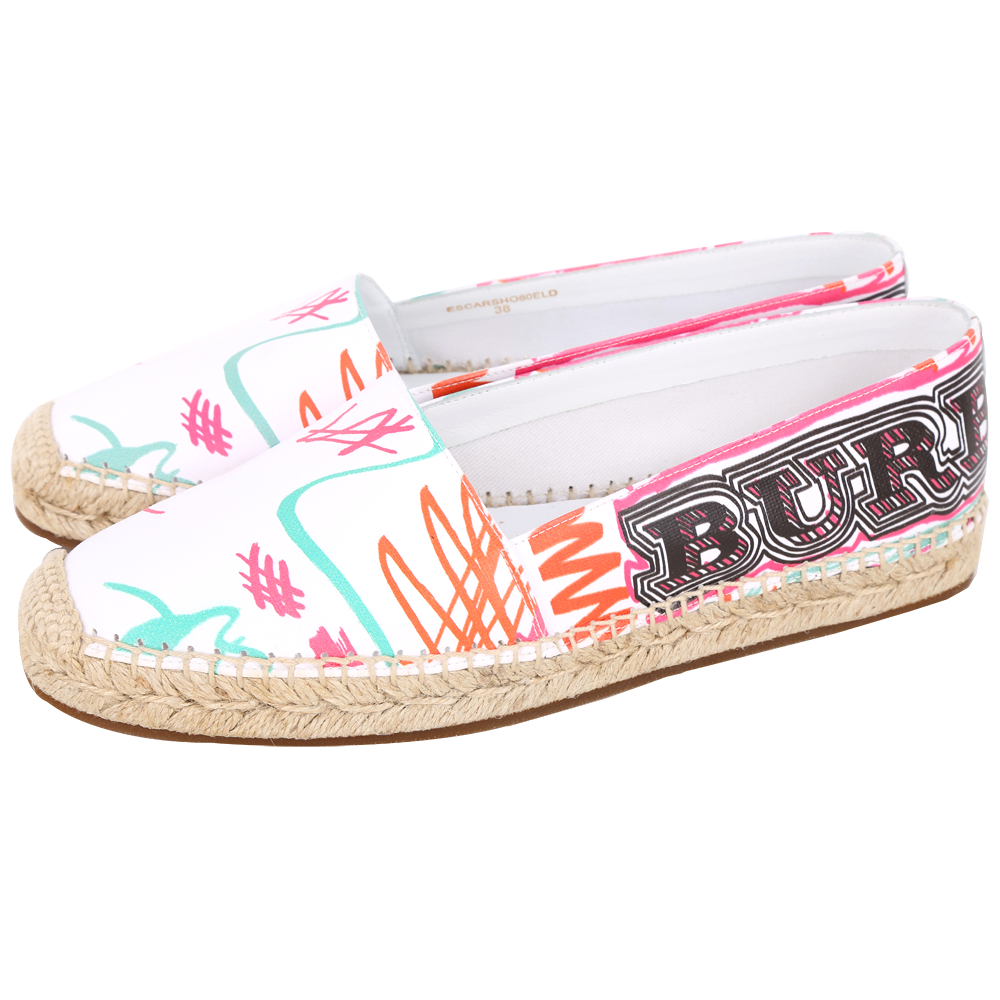 BURBERRY 塗鴉印花塗層棉質麻織鞋(女鞋/白色)