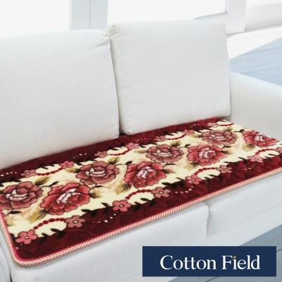 棉花田 雪芙絨 印花超柔雙人沙發坐墊-紅色