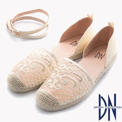 DN 日系甜美 浪漫蕾絲中空繫踝帶平底涼鞋~米