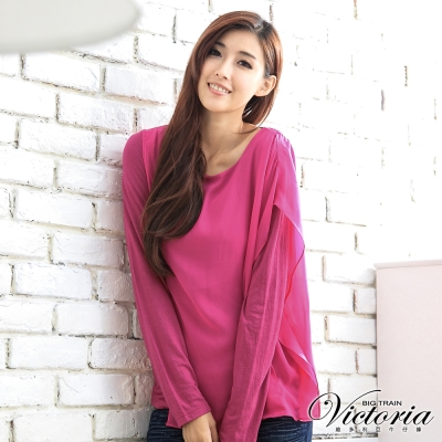 Victoria 層次不對稱雪紡袖上衣-女-桃紅