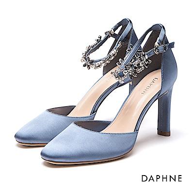 達芙妮DAPHNE 高跟鞋-花型水鑽一字踝帶布面高跟鞋-藍