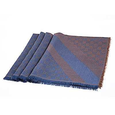 GUCCI 經典GG緹花線條羊毛混絲斜紋雙色流蘇披巾/圍巾(藍/咖啡金)