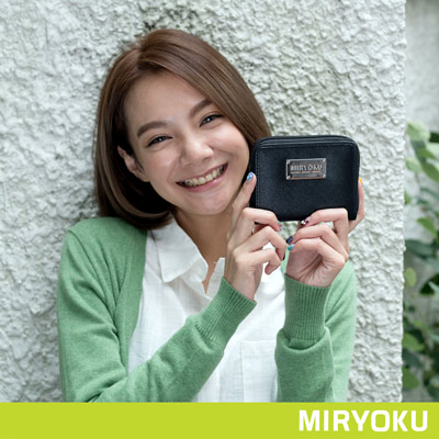 MIRYOKU-質感斜紋系列 / 質感魅力拉鍊短夾-黑