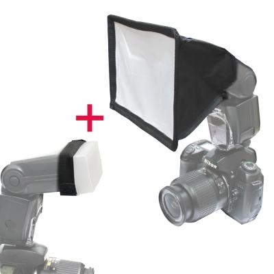 Piyet 機頂閃燈專用柔光罩+柔光盒套裝組合