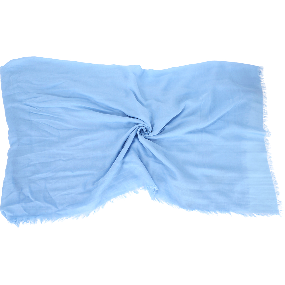 GUCCI 素色棉質流蘇圍巾(水藍色)