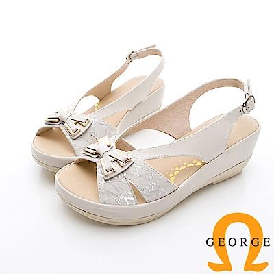 GEORGE 喬治-蝴蝶結飾釦厚底涼鞋-米