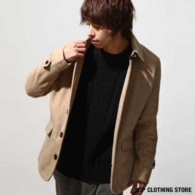 單排釦羊毛短大衣防潑水 日本男裝