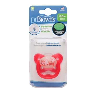 美國Dr Brown  PreVent功能性夜光安撫奶嘴 粉2個0~6個月 附收納盒