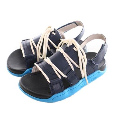 綁帶魔鬼貼休閒涼鞋 藍 sk0174 魔法Baby