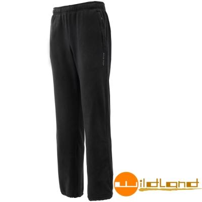 Wildland 荒野 W2530-54黑色 男奈米銀機能彈性刷毛長褲
