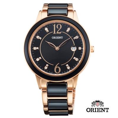 ORIENT 東方錶 DRESS系列 簡約晶鑽陶瓷女錶-黑/41mm