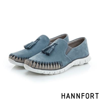 HANNFORT ZERO GRAVITY流蘇真皮氣墊休閒鞋-女-悠閒藍