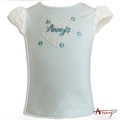 Annys安妮公主刺繡蕾絲花朵短袖上衣*6329綠
