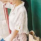 浪漫鏤空蕾絲綴綁帶袖口造型排釦襯衫.2色-OB大尺碼