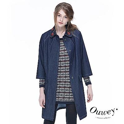 OUWEY歐薇 率性簡約牛仔長版外套(藍)