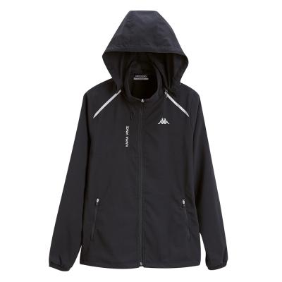 KAPPA義大利 女單層TEFLON風衣外套(可拆帽) 黑