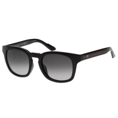 GUCCI- 紅綠腳 復古感方框 太陽眼鏡 (黑色)