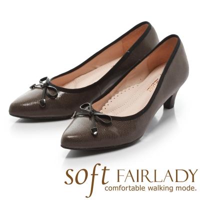 Fair Lady Soft芯太軟 典雅仕女蝴蝶結尖頭低跟鞋 灰
