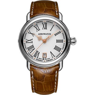 AEROWATCH 古典鏤空指針腕錶-銀x咖啡/40mm