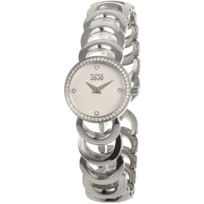 NATURALLY JOJO 奢華貴族晶鑽手鍊錶-白x銀/25mm