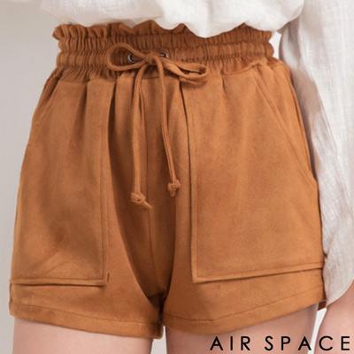 AIR-SPACE-渡假感麂皮絨短褲-咖啡