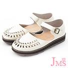 JMS-氣質學院風編織手作感厚底娃娃鞋-白色
