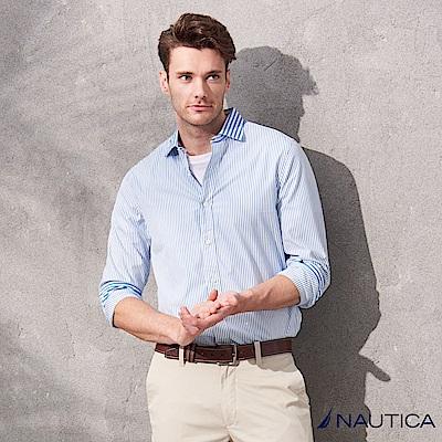 Nautica經典條紋長袖襯衫-藍白