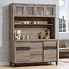 H&D 古橡木色5尺碗盤櫃組 (寬154X深47X高198cm)