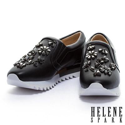 休閒鞋-HELENE-SPARK-花朵圖騰縫鑽羊皮厚底休閒鞋-黑