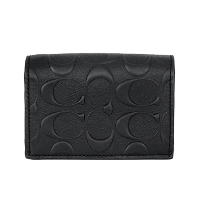 COACH黑色防刮皮革浮雕C Logo雙摺票卡名片夾