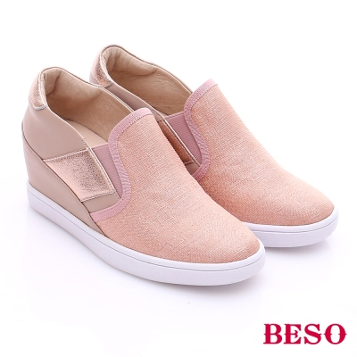 BESO 潮人街頭風 閃亮拼接鬆緊帶增高休閒鞋 粉紅色