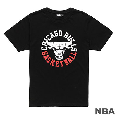 NBA-芝加哥公牛隊環繞文字印花短袖T恤-黑 (男)