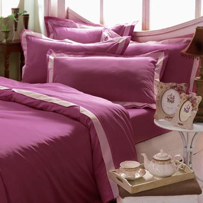 義大利La Belle 美學素雅 特大被套床包組-玫瑰紅