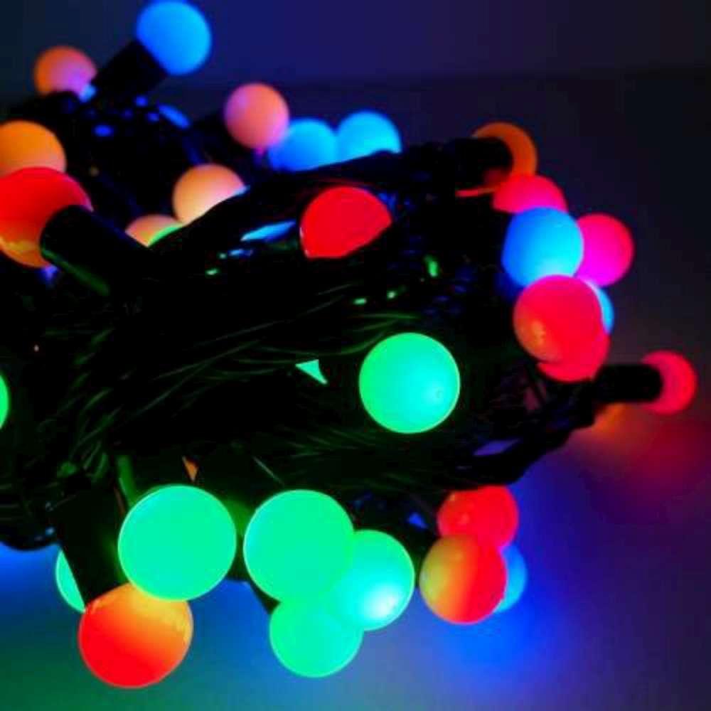 聖誕燈100燈LED圓球珍珠燈串(插電式/彩色光黑線/附控制器跳機)(高亮度又省電)