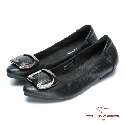 CUMAR舒適真皮 水鑽金屬裝飾平底包鞋-黑色