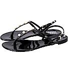 KARL LAGERFELD K/PEARL 黑色珍珠T字果凍涼鞋(展示品)