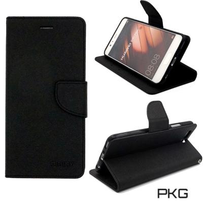 PKG 華為P10-PLUS 側翻式皮套-潑水紋表層(黑)