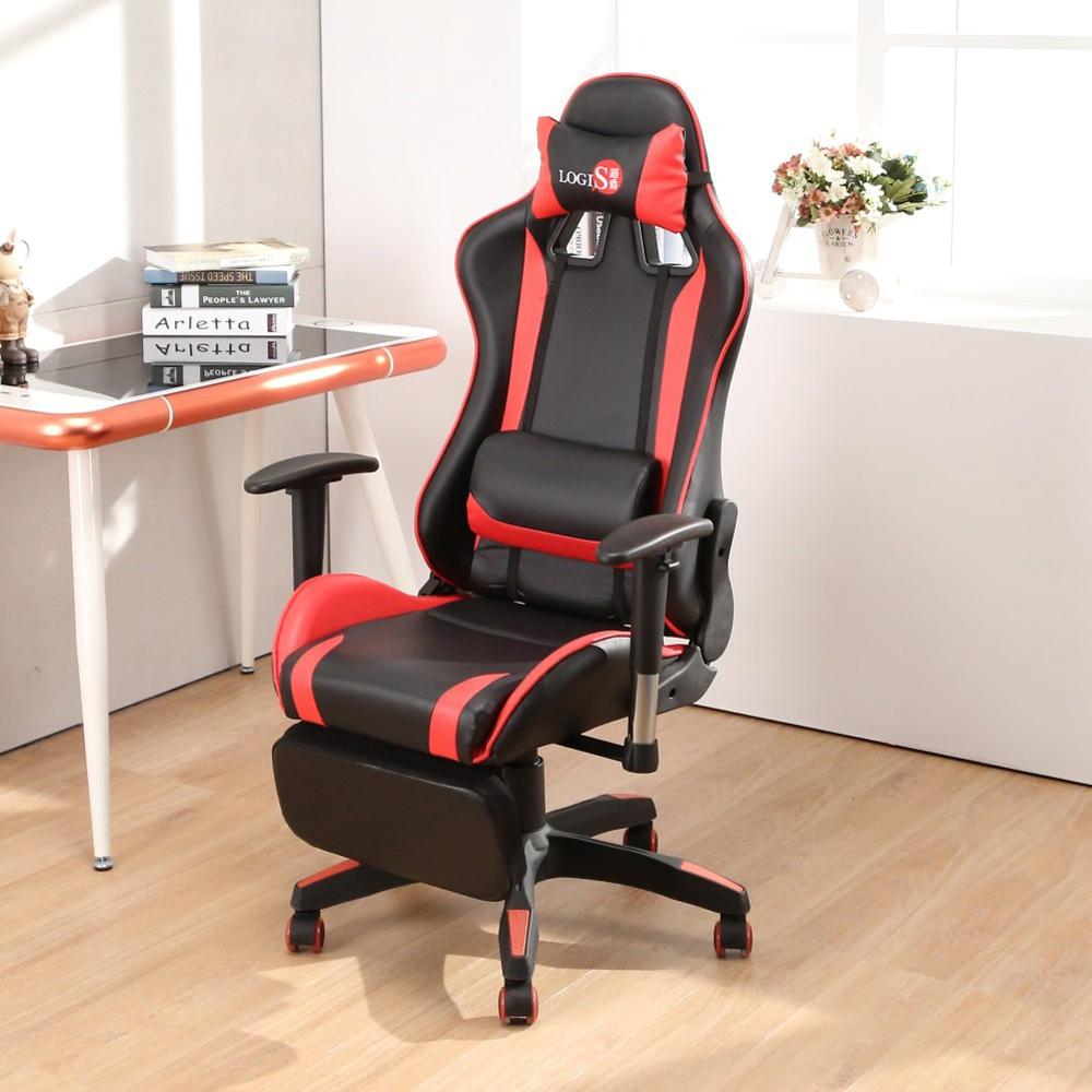 LOGIS邏爵-極速皮面坐臥專利腳台電競椅 辦公椅 電腦椅 賽車椅