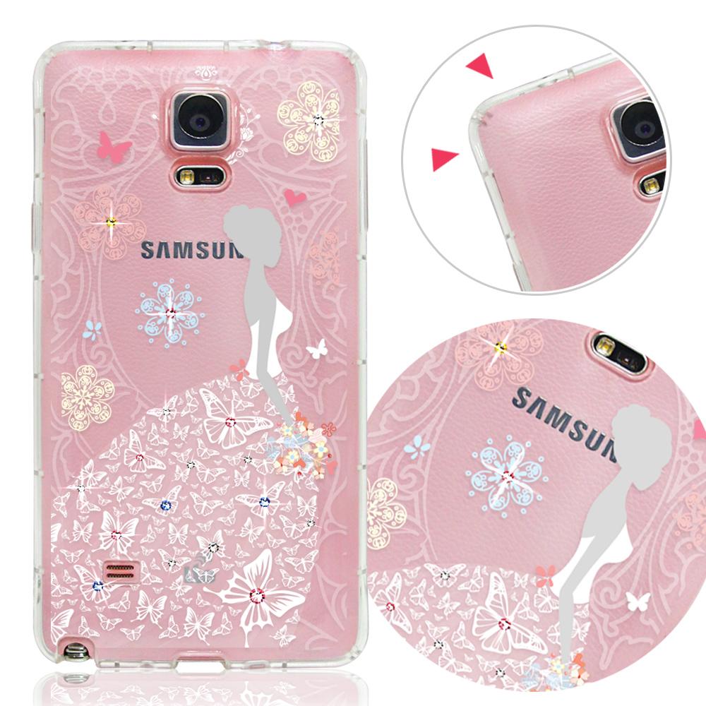 VAT 三星 Galaxy Note 4 奧地利水晶彩繪防摔氣墊手機鑽殼-花嫁