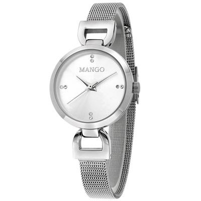 MANGO 歐美極簡素雅晶鑽時尚腕錶-銀/29mm